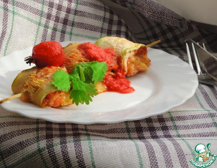 Рецепт: Вкусные диетические кабачково-куриные шашлычки