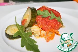 Рецепт: Рыба, запечённая с овощами в СВЧ