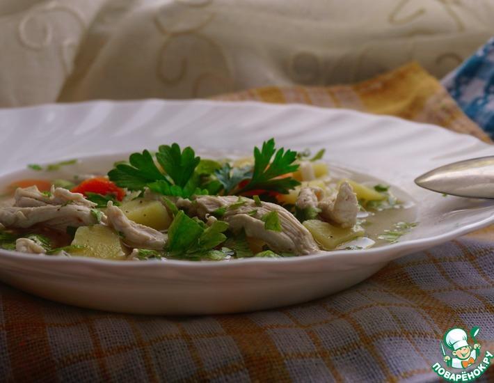 Рецепт: Легкий куриный суп мгновенного приготовления