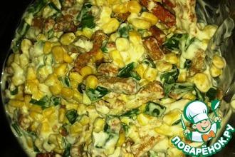 Рецепт: Салат Сухарики с кукурузой