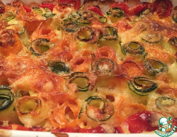 Рецепт: Запечённые овощи с сыром и чесноком