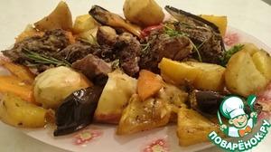 Рецепт Баранья нога запеченная в духовке с овощами