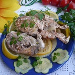 Горбуша с овощами, запеченная в пергаменте