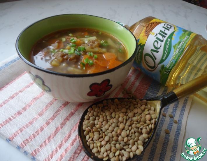 Рецепт: Сытный суп из чечевицы Бюджетный