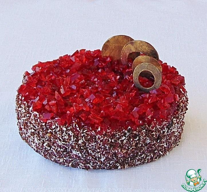 Постный кокосово-малиновый торт