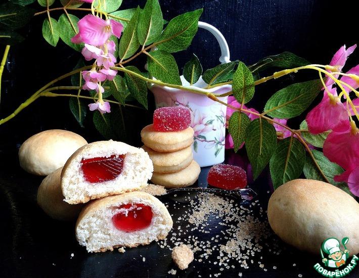 Рецепт: Печенье бездрожжевое с мармеладом