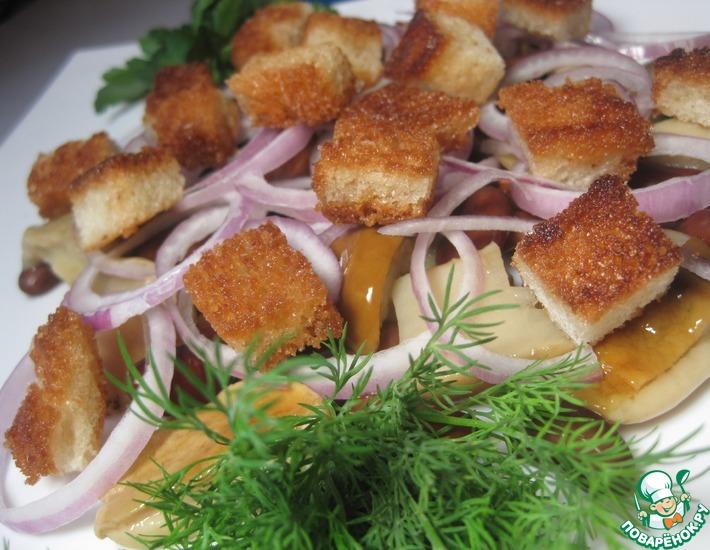 Рецепт: Салат постный с фасолью и грибами