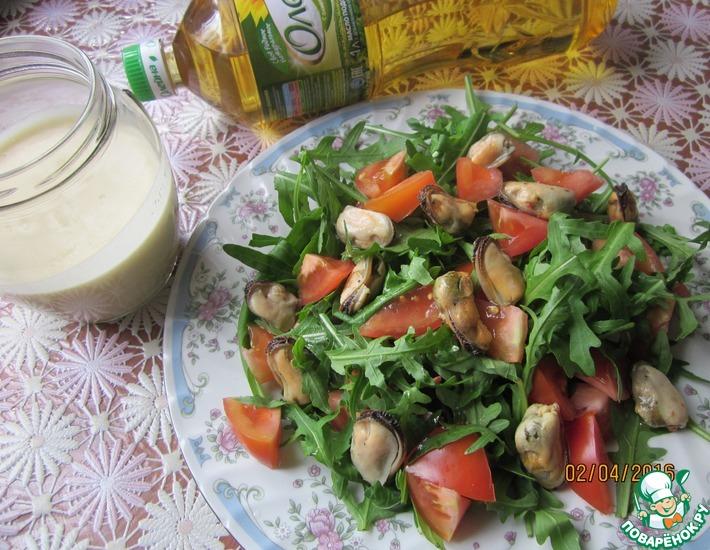 Рецепт: Яблочный постный майонез и салат с мидиями