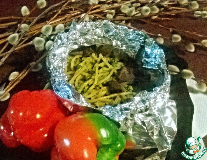 Рецепт: Спагетти в конверте