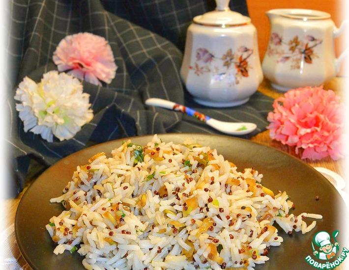 Рецепт: Ароматный рис с черемшой