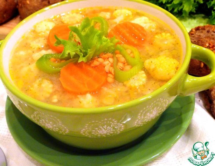 Рецепт: Овощной суп с чечевицей