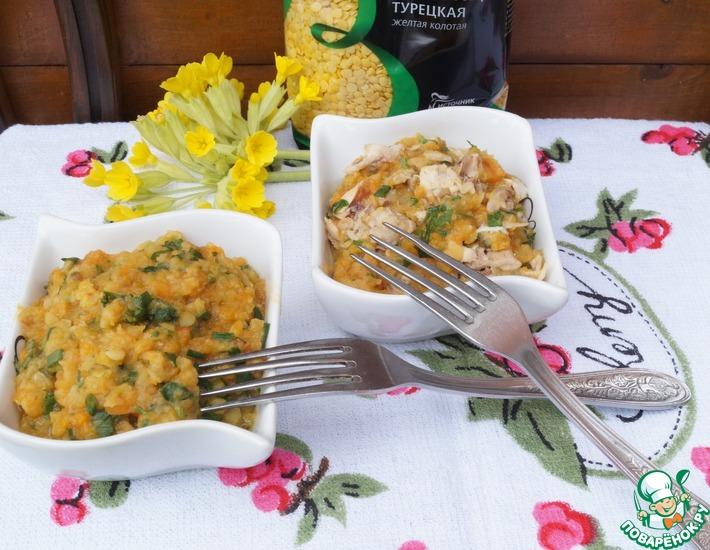 Рецепт: Чечевица в овощном соусе с курицей