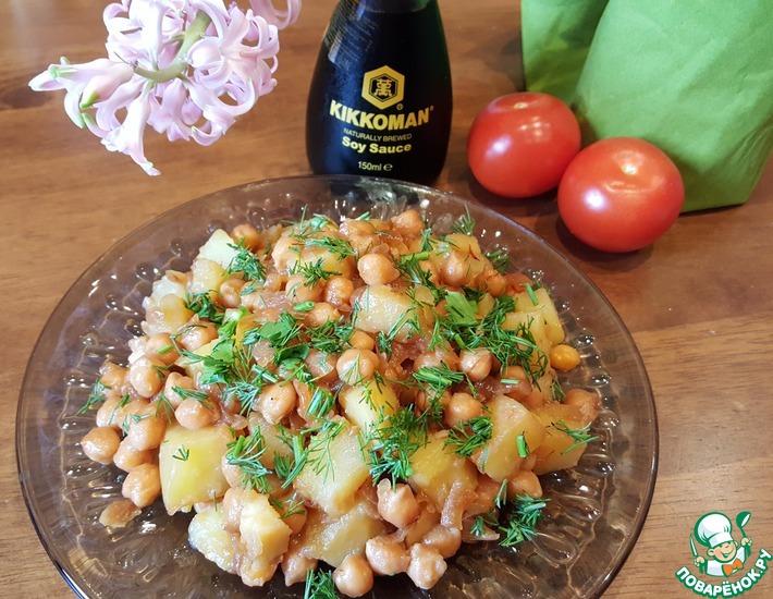 Рецепт: Салат-гарнир из нута и картофеля