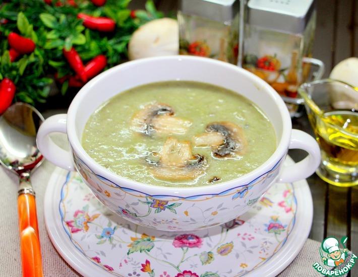 Рецепт: Постный суп с грибами и брокколи