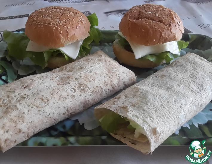 Рецепт: Гамбургеры и роллы с нутовыми котлетками