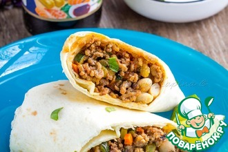 Рецепт: Буритто с говядиной и фасолью