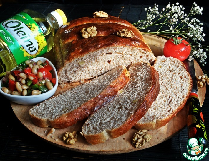 Рецепт: Хлеб с гречневой мукой и орехами