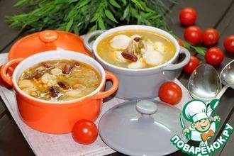 Рецепт: Фасолевый суп с птитимом и кнелями