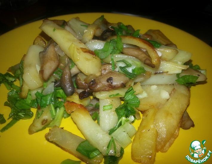 Рецепт: Жареные вешенки с картофелем