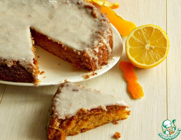 Рецепт: Апельсиновый бисквит с лимонной глазурью