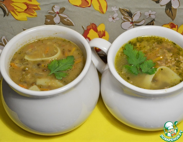 Рецепт: Густой суп с машем и лапшой