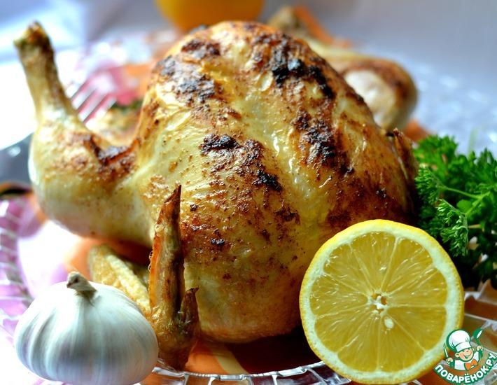Рецепт: Курица, фаршированная чесноком и лимоном