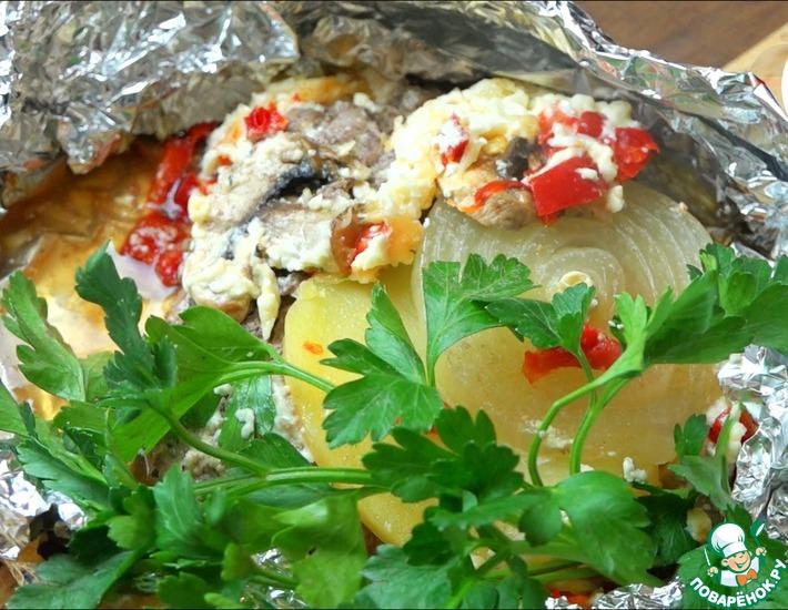 Рецепт: Свинина с овощами, запеченная в фольге