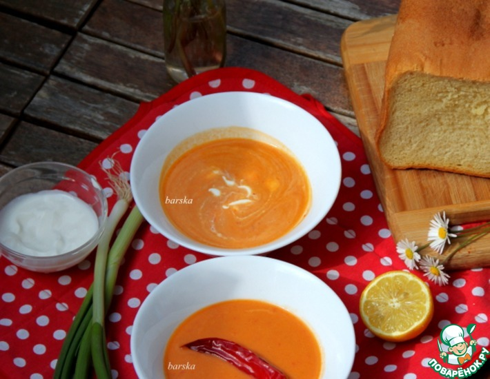Рецепт: Суп-пюре из болгарского перца и фасоли
