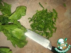 Мелко накрошить шпинат