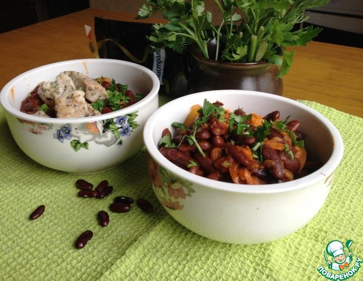 Рецепт: Фасоль с овощами в томате