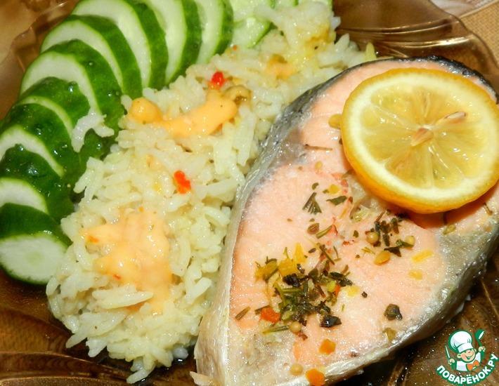 Рецепт: Классический стейк лосося в пароварке