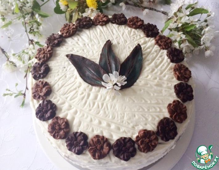 Рецепт: Шоколадный торт с двумя кремами