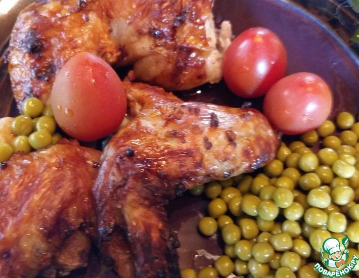 Рецепт: Курица из духовки Плоская