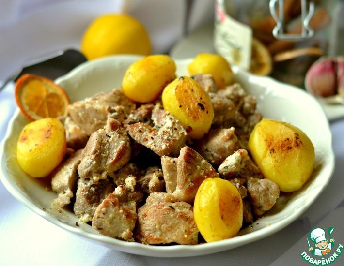 Рецепт: Мясо в лимонно-сметанном соусе