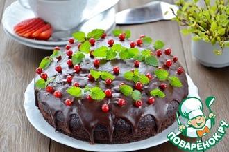 Рецепт: Постный шоколадный пирог с вишневым муссом