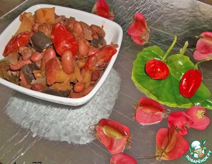 Рецепт: Теплый овощной салат с фасолью