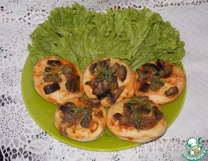 Рецепт: Лепёшки с баклажанами и грибами