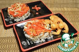 Рецепт: Смесь риса с овощами и креветками