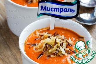 Рецепт: Томатный крем-суп с хрустящим рисом