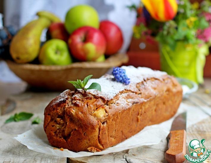 Рецепт: Постный кекс с яблоками и орехами