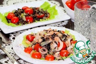 Рецепт: Дикий рис с овощами и морепродуктами