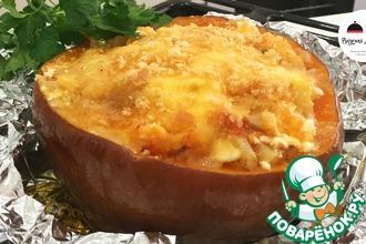 Рецепт: Запеченная фаршированная тыква со свининой и картофелем