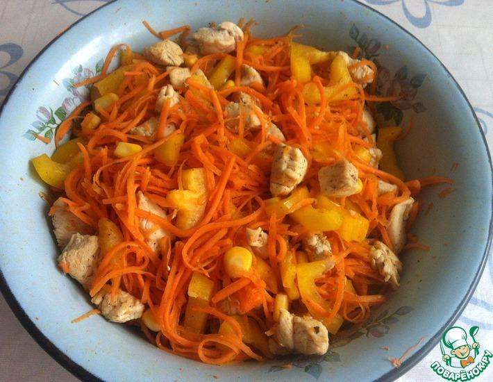 Рецепт: Салат с курицей Солнечный