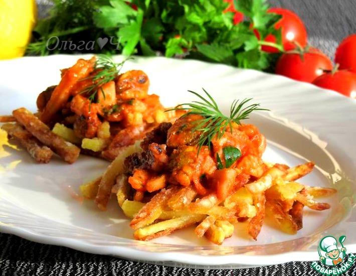 Рецепт: Морской коктейль на картофеле Пай