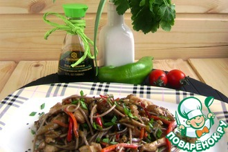 Рецепт: Соба с баклажанами и куриным филе