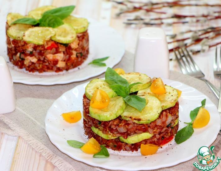 Рецепт: Красный рис с овощами и индейкой