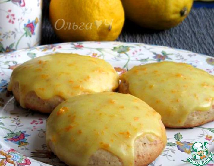 Рецепт: Лимонные сконы с миндалем в апельсиновой глазури