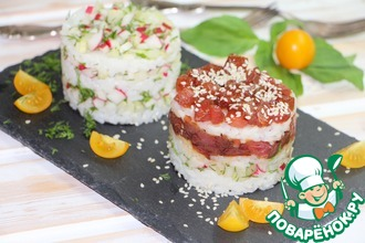 Рецепт: Салат с овощами и тунцом А-ля суши