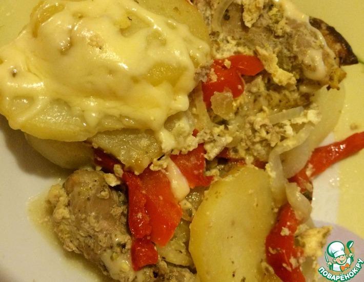 Рецепт: Свинина с картофелем, запеченная в духовке