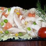 Куриный зельц с овощами в бутылке